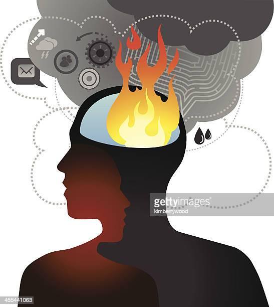 brain burining - flare stack stock illustrations, clip art, cartoons, & icons