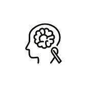 Brain cancer awareness line icon