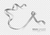Brain Cancer Awareness Month. Grey Color Ribbon Isolated On Transparent Background. Vector Design Template For Poster.