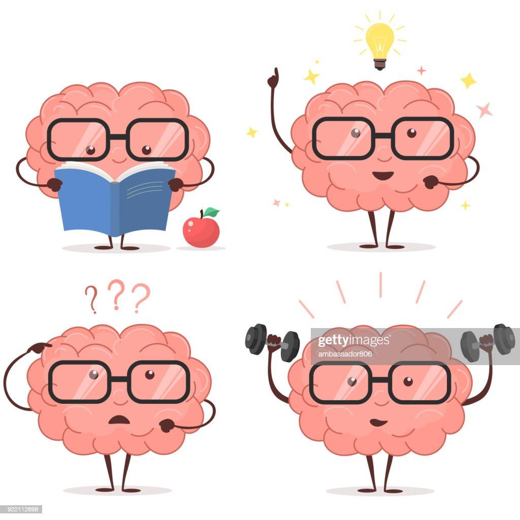 Brain cartoon set. vector