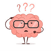 Brain cartoon with questions and glasses, human intellect thinks, Brainstorming. Vector