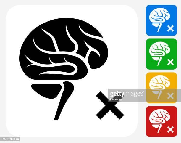 Brain Check Icon Flat Graphic Design