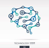 Brain concept technology vector abstract background, connected metaball icon circles.