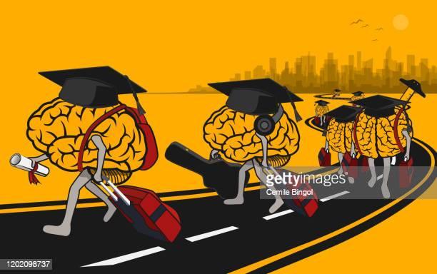 illustrazioni stock, clip art, cartoni animati e icone di tendenza di fuga di cervelli dei laureati - fuggire