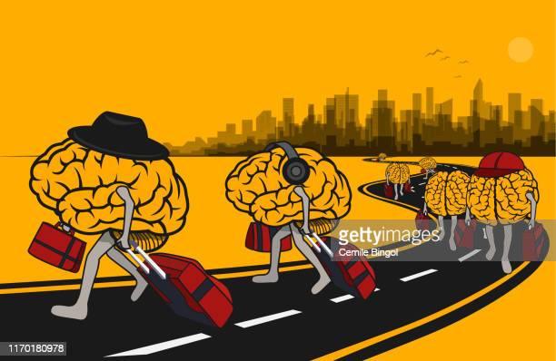 illustrazioni stock, clip art, cartoni animati e icone di tendenza di cervelli - fuggire