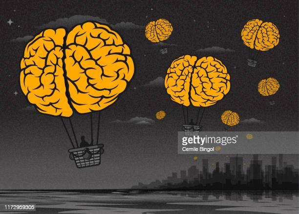 brain drain-brain hot air balloons - surrealism stock illustrations