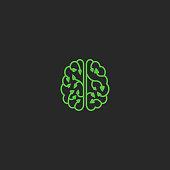 Brain  eco creative design element. Think Idea ecology concept plant leaves. Natural technology laboratory, brainstorm type.