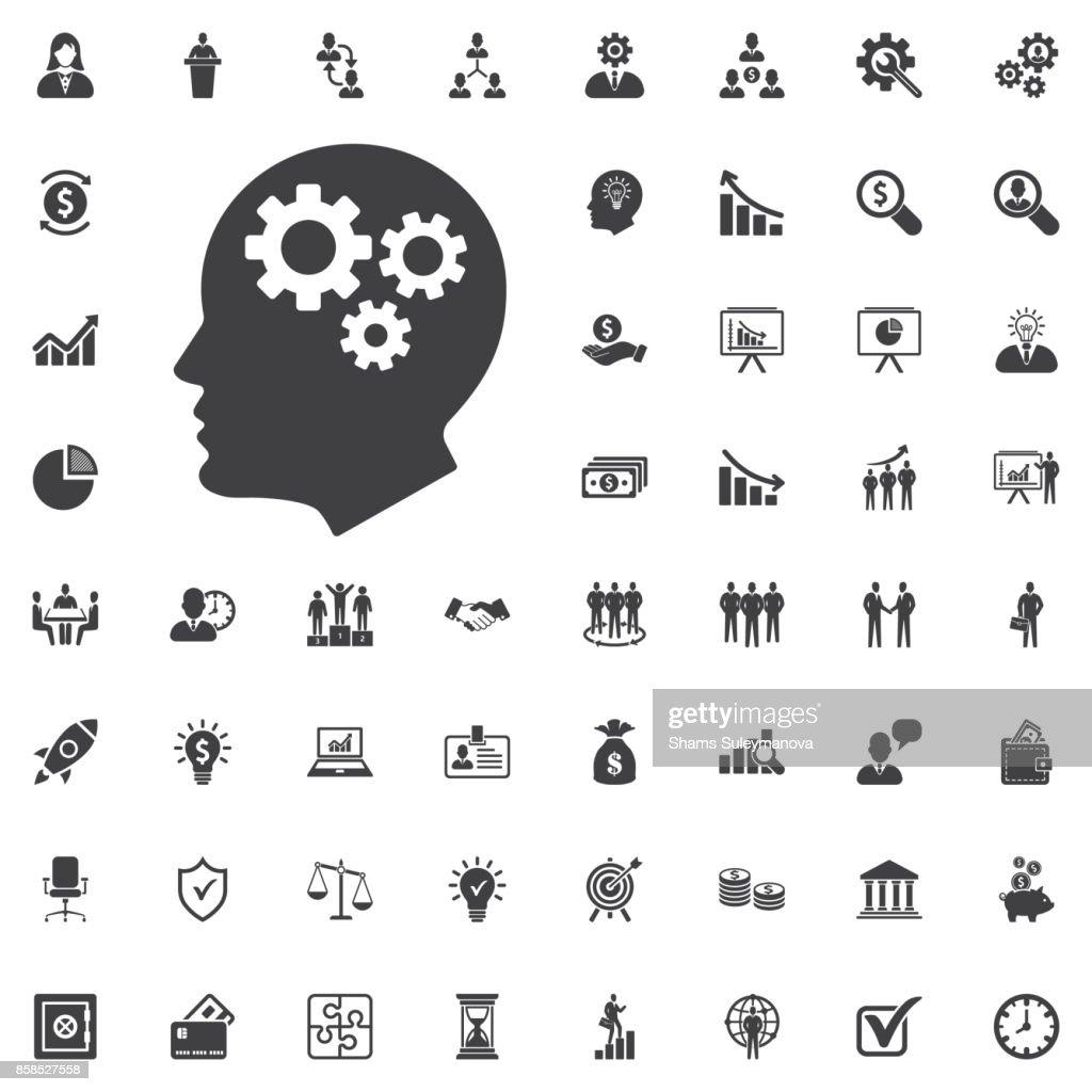 Brain Gears vector icon