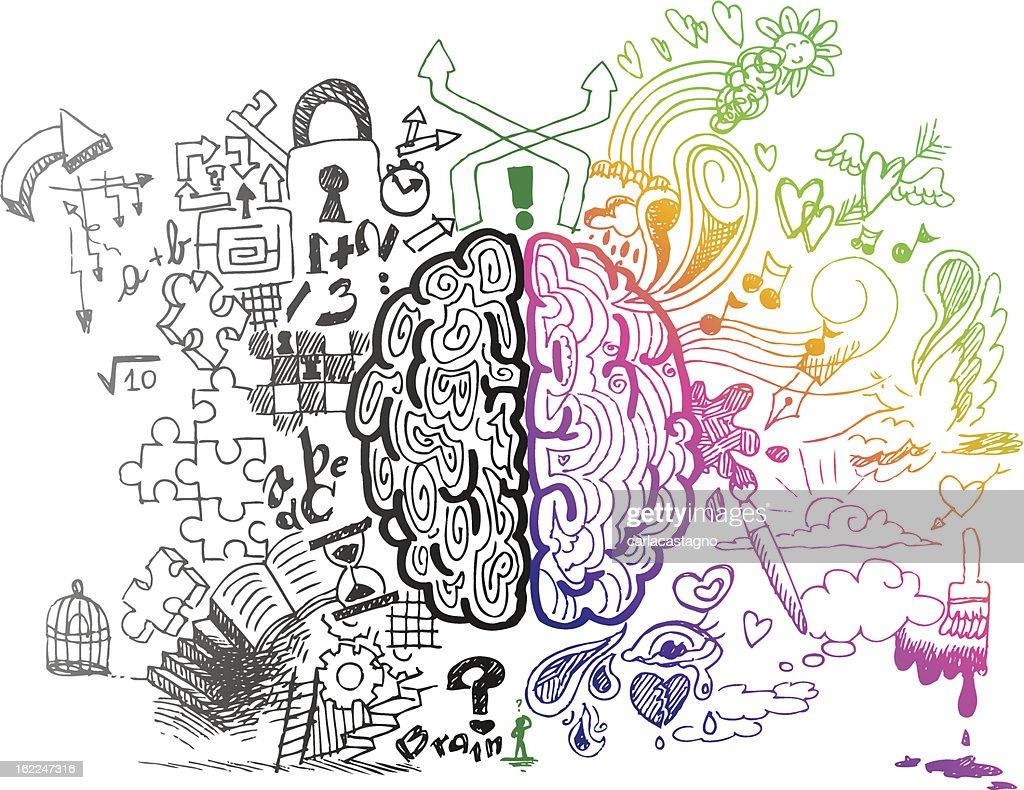 Brain hemispheres sketchy doodles