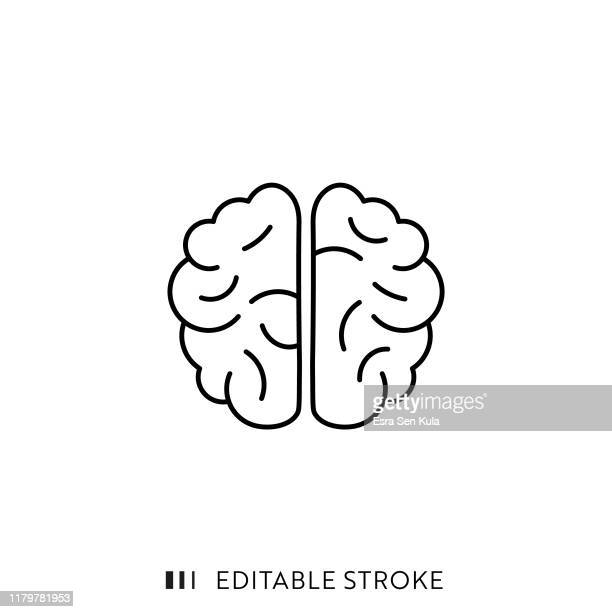 brain icon with editable stroke and pixel perfect. - neurosurgery stock illustrations, clip art, cartoons, & icons