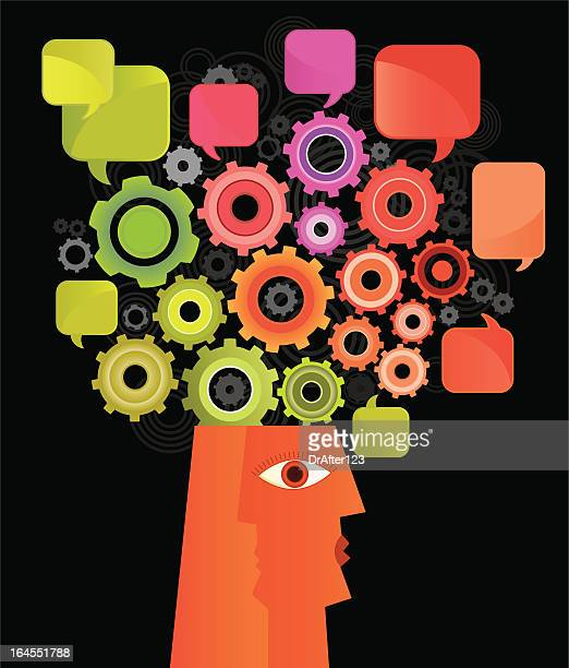 brain in progress - sociology stock illustrations, clip art, cartoons, & icons