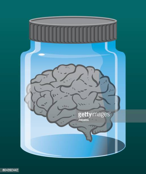 brain inside jar - diencephalon stock illustrations, clip art, cartoons, & icons