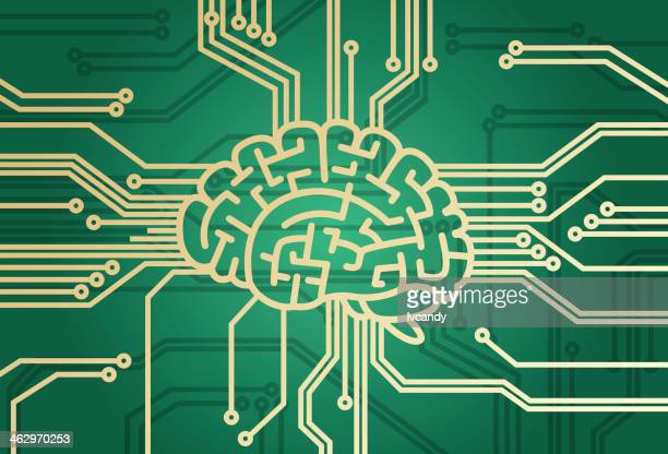 brain is the cpu - cyborg stock illustrations, clip art, cartoons, & icons