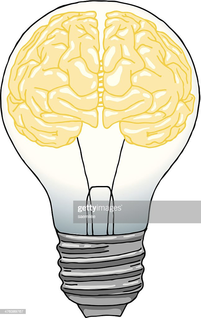 Brain light bulb : Stockillustraties