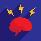 Brain Lightning Icon Flat