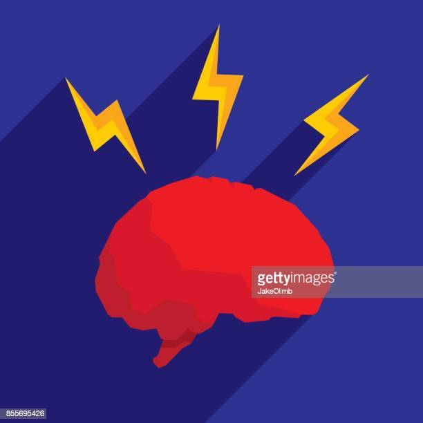 Brain Lightning Icon Flat
