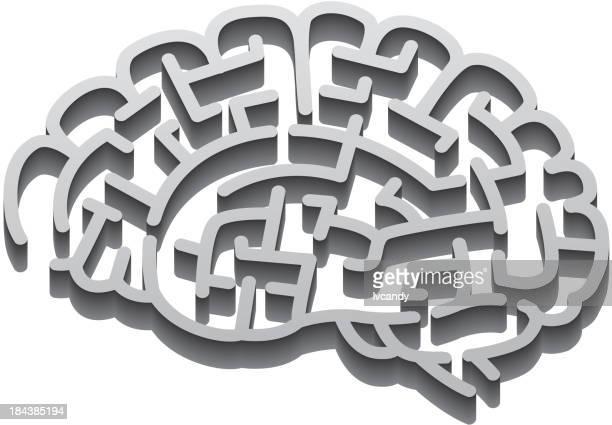 brain maze - gyrus stock illustrations, clip art, cartoons, & icons