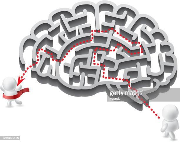 brain maze - gyrus stock illustrations