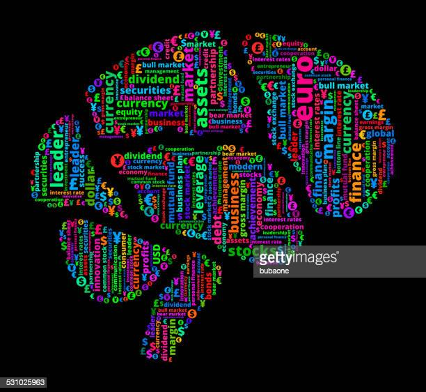 brain on business and finance word cloud - temporal lobe stock illustrations, clip art, cartoons, & icons