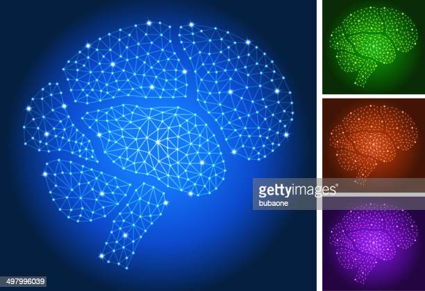 Brain on triangular nodes connection structure vector art