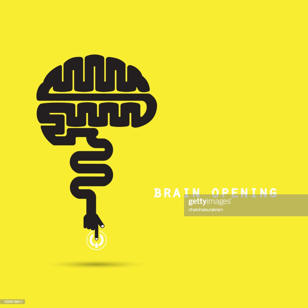 Brain opening concept.Creative brain abstract vector logo design template.