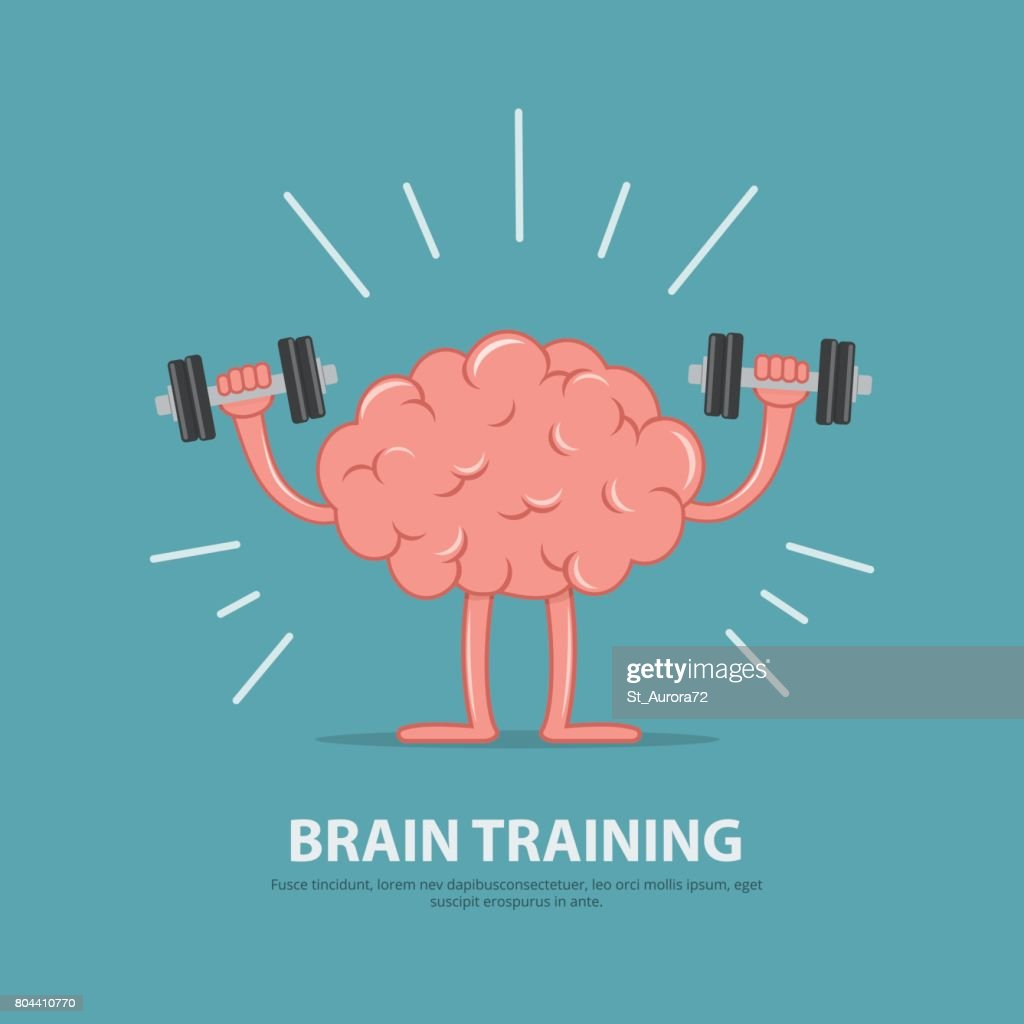 Brain power. Brain exercise. Cartoon brain character lifting dumbbells. Education concept.