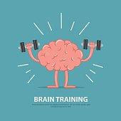 Brain power. Brain exercise. Cartoon brain character lifting dumbbells. Education concept.