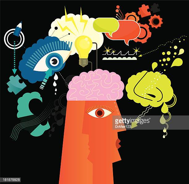 brain power - human nose stock illustrations