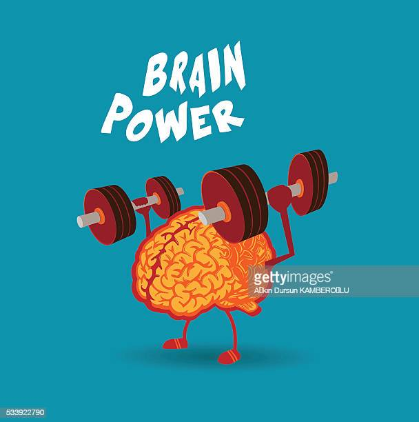 brain power - weight training stock illustrations