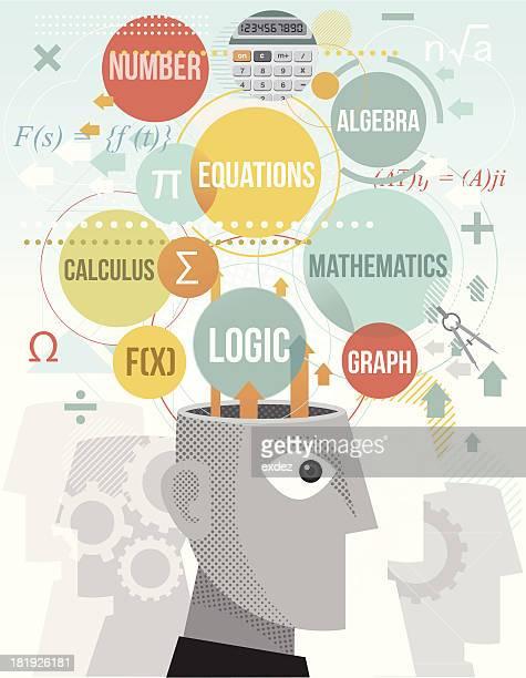 ilustrações de stock, clip art, desenhos animados e ícones de cérebro processamento termos de matemática - matematica