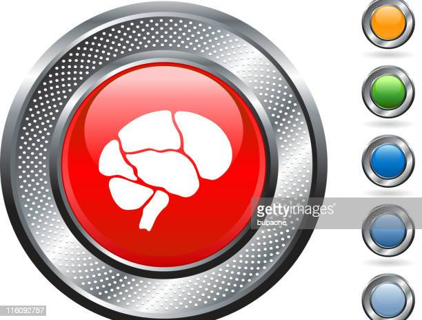 brain royalty free vector art on metallic button - temporal lobe stock illustrations, clip art, cartoons, & icons
