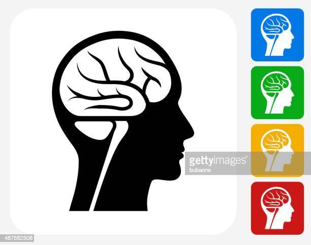 gehirn-scan-symbol flache grafik design - kopf stock-grafiken, -clipart, -cartoons und -symbole