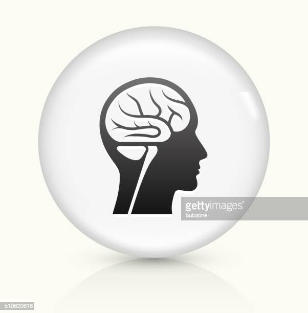 Brain Scan icon on white round vector button