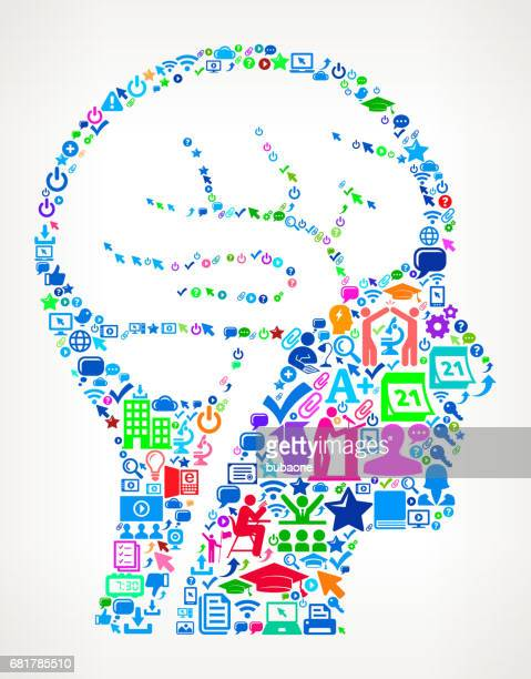 Brain Scan Modern Education and College Degree Icon Pattern