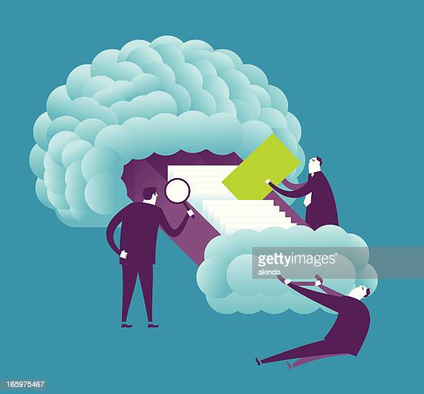 brain searching - filing cabinet stock illustrations