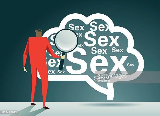 ilustraciones, imágenes clip art, dibujos animados e iconos de stock de cerebro, sexo, la adicción problemas - masturbacion