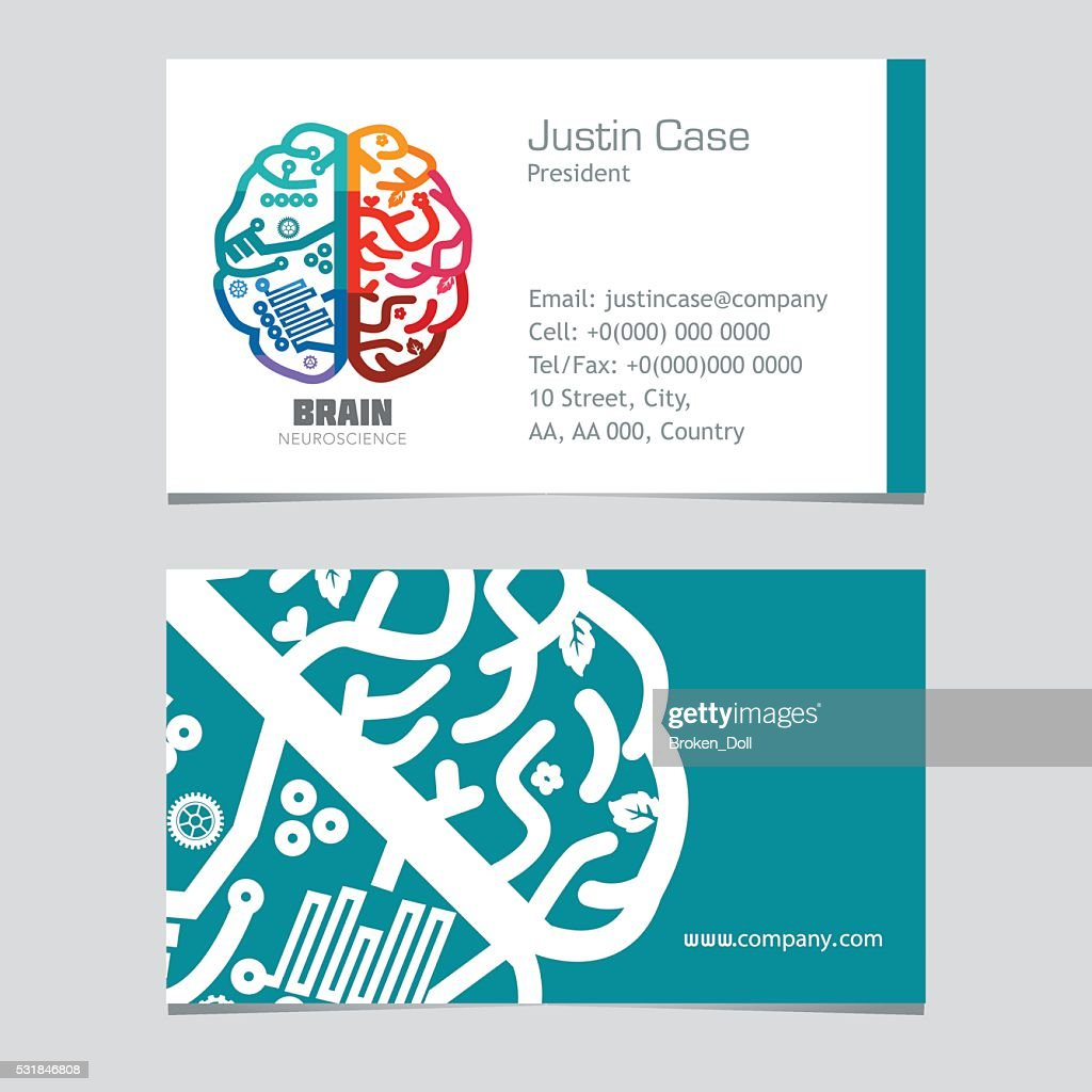Brain Sign Business Card Design Template For Neuroscience Medicine ...