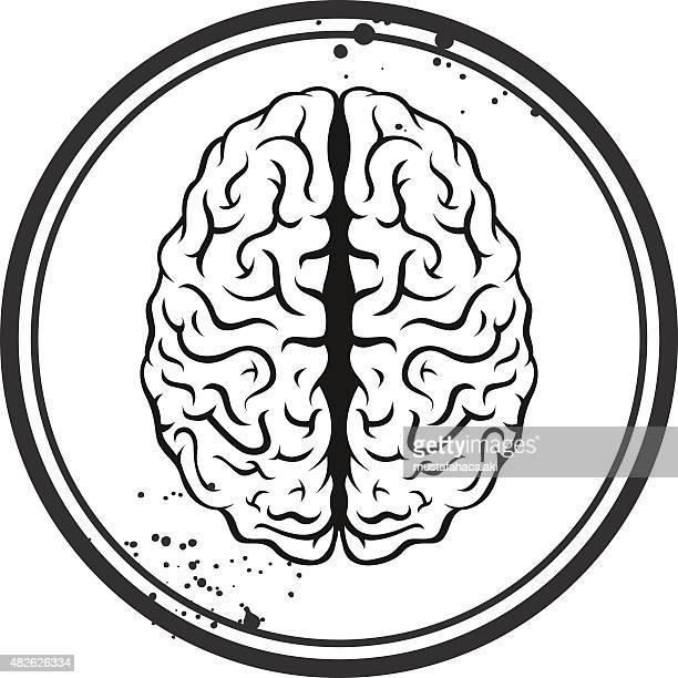 brain stamp - cerebral hemisphere stock illustrations, clip art, cartoons, & icons
