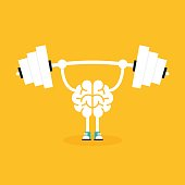 Brain training with weightlifting flat design. Creative idea concept