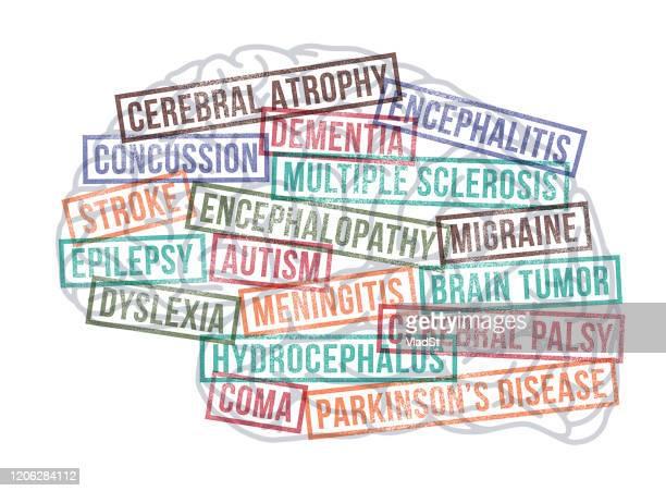 brain tumor neurological disorders disease autism stroke rubber stamps - brain tumour stock illustrations