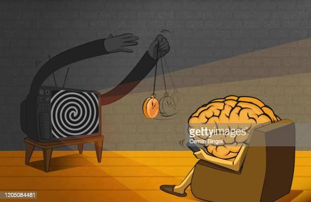 brain - tv addiction - hypnosis stock illustrations