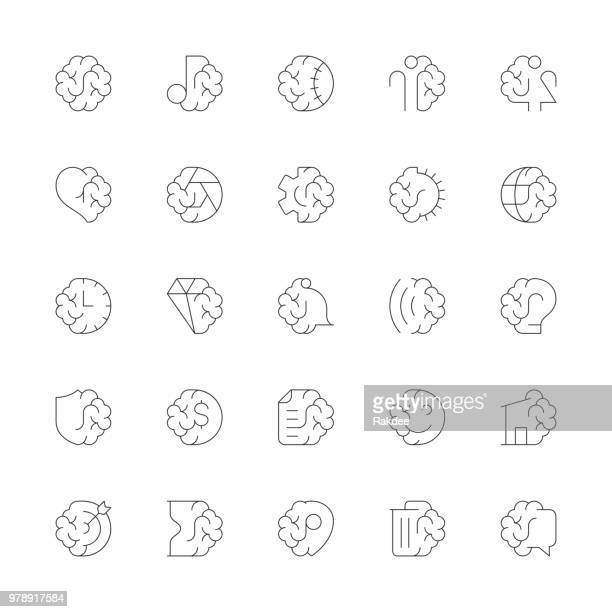 Brain with Basic Icons - Ultra Thin Line Series
