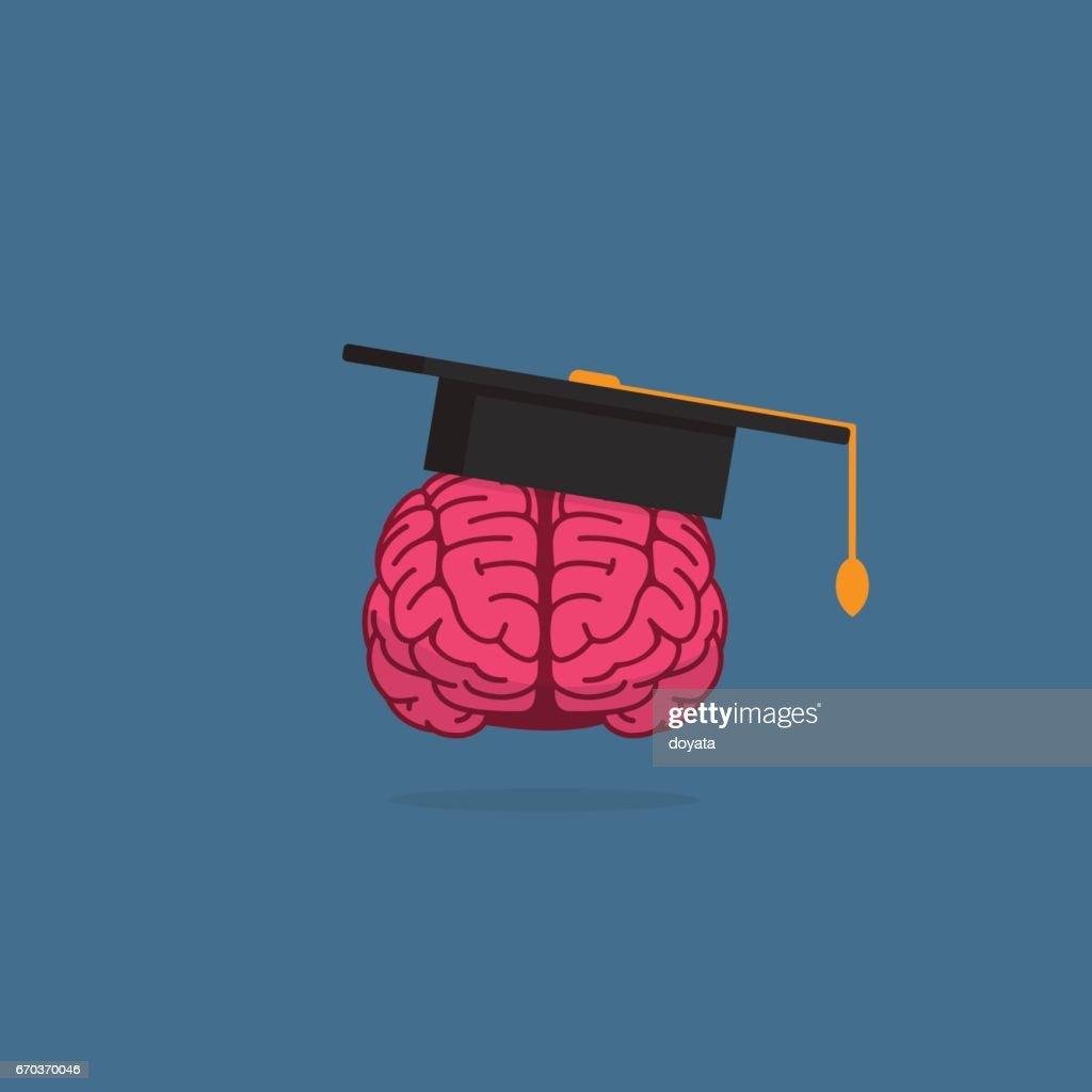 Brain with Mortar Board. Education Concept