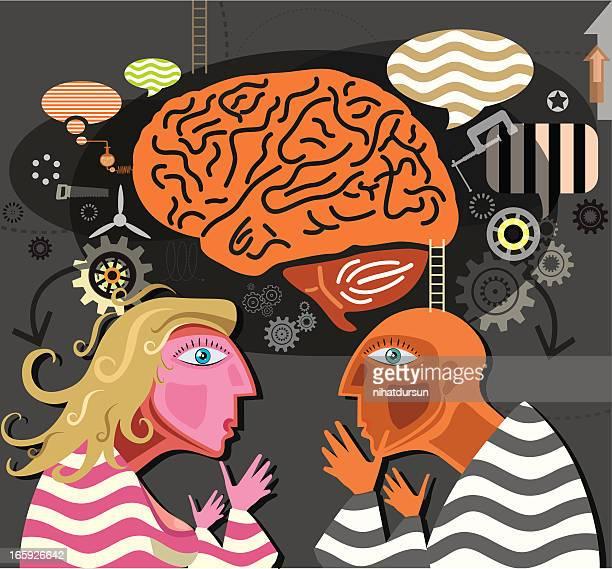 ilustrações de stock, clip art, desenhos animados e ícones de cérebro com as pessoas - sistema nervoso central
