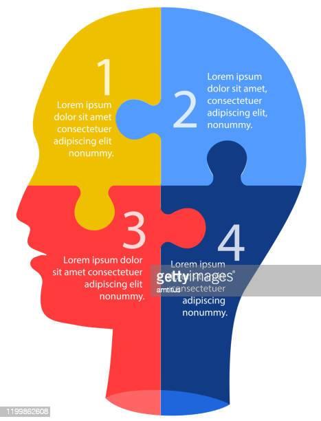 stockillustraties, clipart, cartoons en iconen met brainstorm infographics - menselijk hoofd