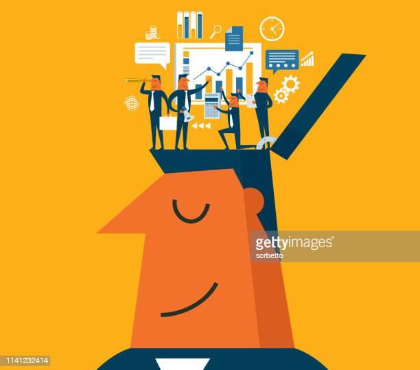 brainstorming-geschäftsmann - geschäftsgründung stock-grafiken, -clipart, -cartoons und -symbole