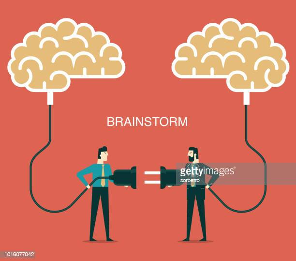 brainstorming - businessmen - steel cable stock illustrations