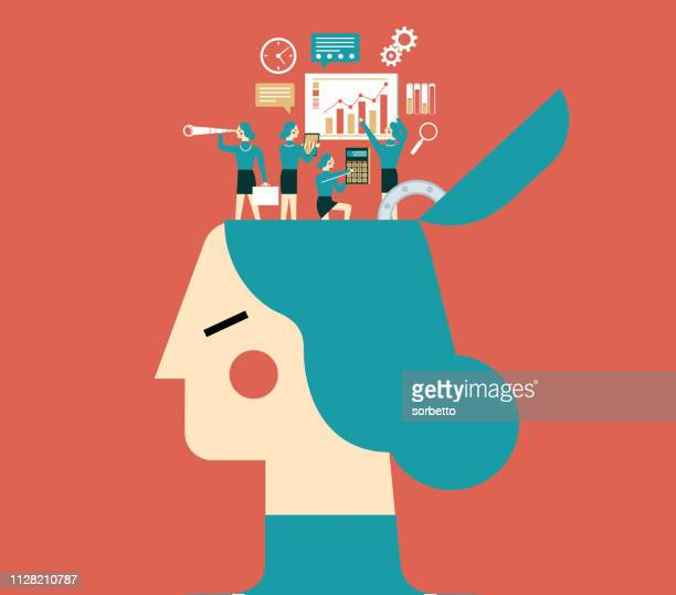 brainstorming - businesswoman - ideas stock illustrations