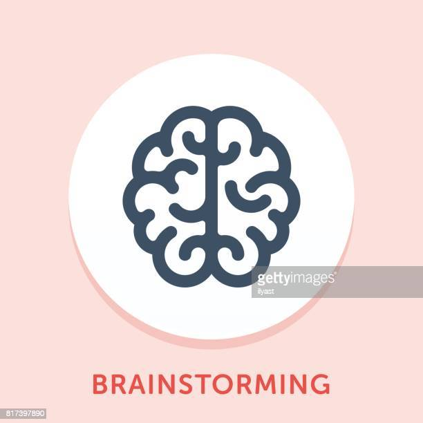brainstorming curve icon - brain stock illustrations