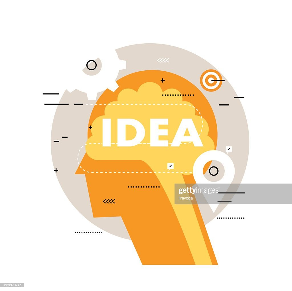 Brainstorming flat line business vector illustration design banner